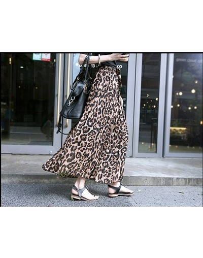 Summer Women Long Leopard Print Skirt Elastic High Waist Chiffon Pleated Slim Fit Casual Maxi Skirt - as photo - 4A3420135776