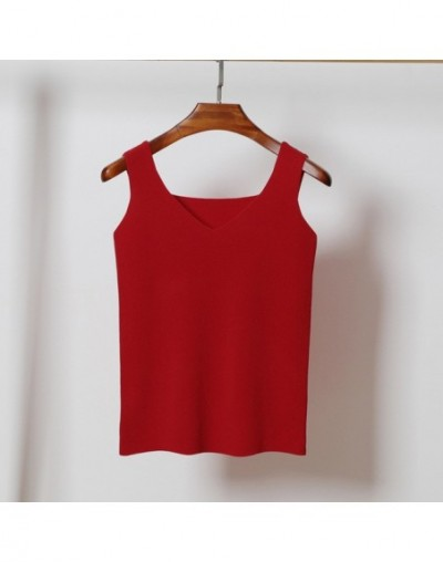 New 2019 Solid Color Knitted Tops Women Sexy V neck Sleeveless Casual Tank Top Female Basic Crop tops Black Red Gray - red -...
