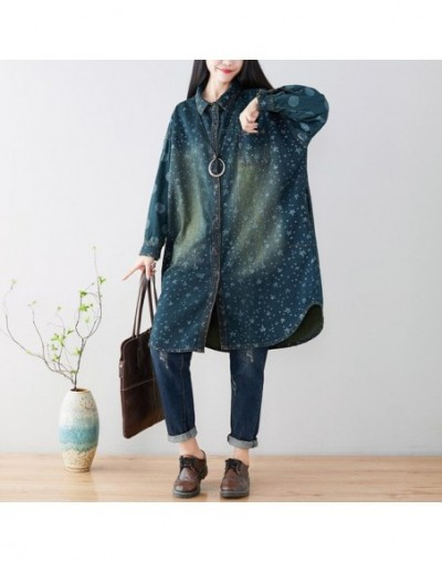 Women printed Loose Denim Jacket Ladies Plus Size Vintage Cute Stars Print Denim Coat Outerwear Female Bleached Denim Overco...