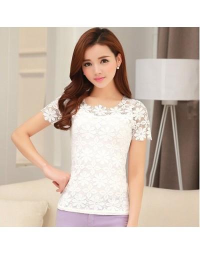 lace t shirt women t-shirt camiseta feminina t shirts women 2019 summer tops 5XL plus size tshirt tee shirt femme - white - ...