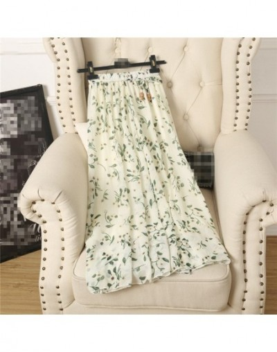 2018 summer new skirts wild Korean women skirts long floral pattern chiffon skirt - White - 4J3971755340-4