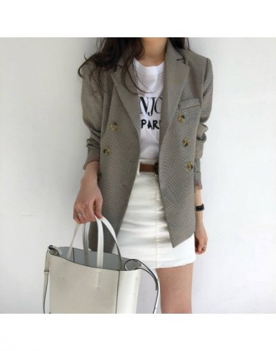 Classic Plaid Double Breasted Women Jacket Blazer Notched Collar Female Suits Coat Fashion Houndstooth Outwear 2018 - coffee...