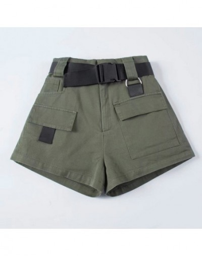 High Waist Wide Leg Cargo Women's Shorts Vintage Sashes Solid Khaki Pocket Women Shorts 2019 Summer Fashion NEW Casual Cloth...