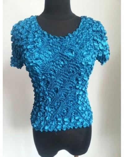 New Women Elastic Popcorn Tops short Sleeve Shirt Coin shirts - Peacock blue - 4M3870180396-3