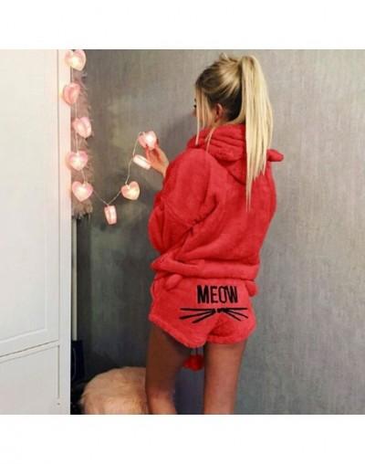 New Women Coral Velvet Suit Two Piece Autumn Winter Pajamas Warm Sleepwear Cute Cat Meow Pattern Hoodies Shorts Set High qua...
