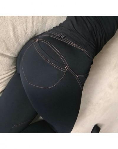 New! Casual Push Up Elastic Women Imitation Jeans Leggings Denim Blue Slim Leggings Fashion Female Black Cotton Pocket Leggi...
