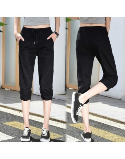 Elastic Waist Women Capris Pants Summer 2019 Plus Size Casual For Women Solid Color Capris Calf-Length Pants - black - 43397...