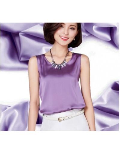 Summer women blouses 2017 new casual chiffon silk blouse slim sleeveless O-neck blusa feminina tops shirts solid - Purple - ...