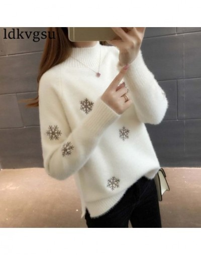 2019 NEW Autumn Winter Large Size Women's Sweater Korean Half-high Collar Thick Knitted Sweaters Women Pullovers V255 - whit...