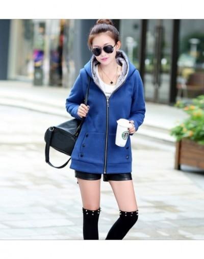 2016 Spring Autumn Jackets Women Casual Hoodies Coat Cotton Sportswear Coat Hooded Warm Jackets Plus Size M-3XL - Blue - 4W3...