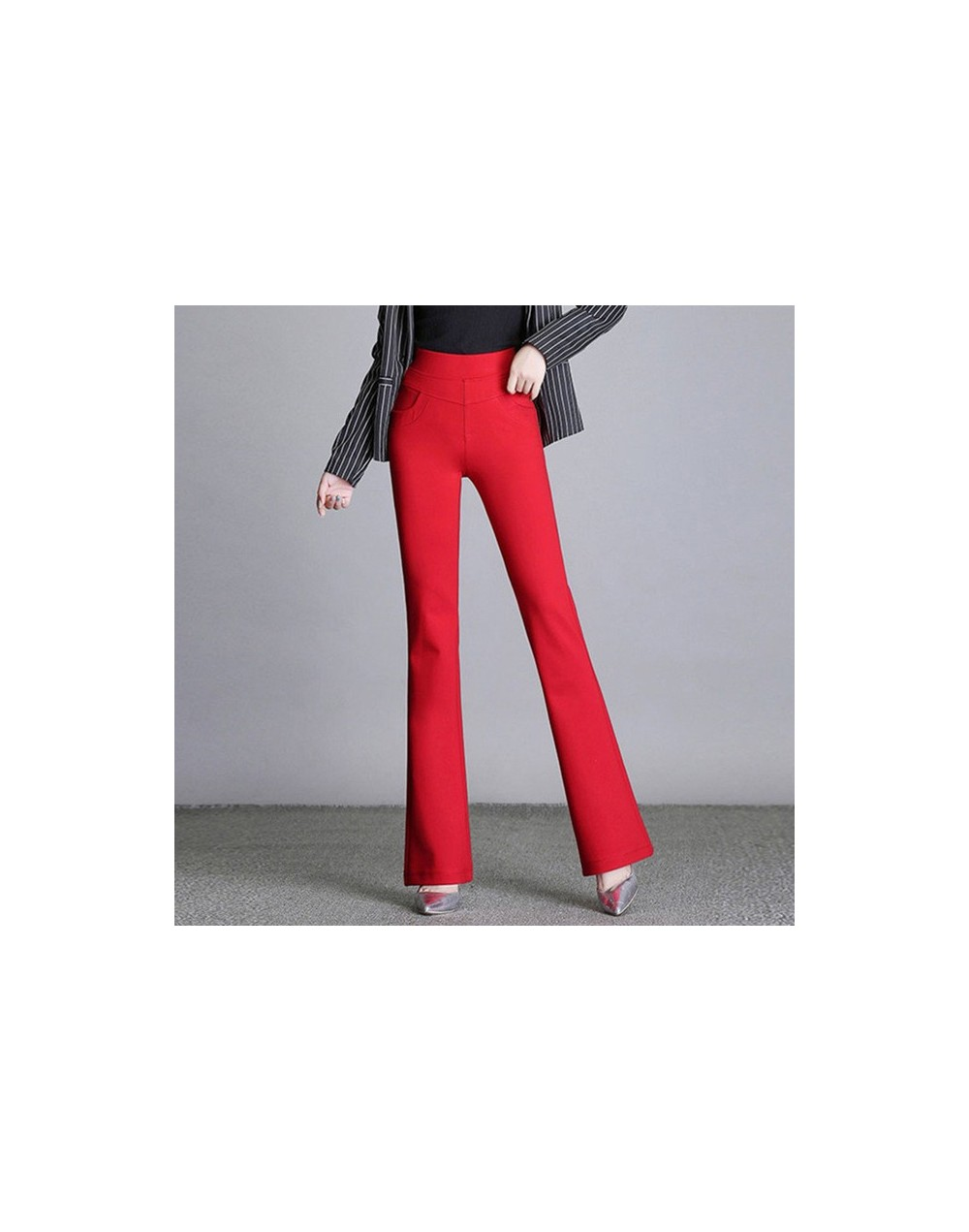 2018 autumn and winter new women's red bell-bottoms women high waist large size blue elastic trousers fashion casual pants M...