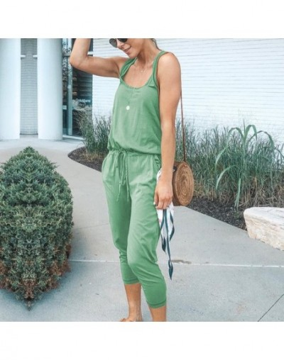 Drawstring Waist Sexy Jumpsuits For Women Sleeveless Bodysuits Casual StreetwearPlaysuits 2019 Rompers Summer Playsuits - Gr...