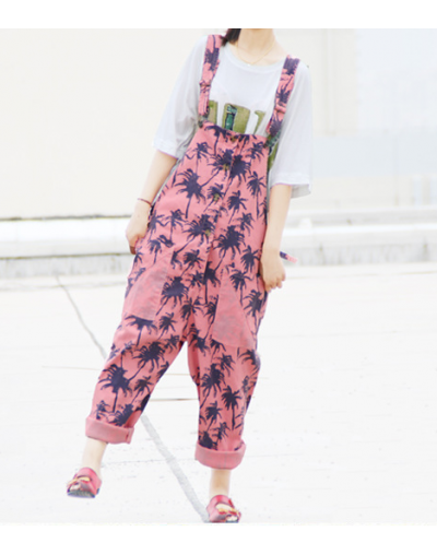 Women Maple leaves Print Jumpsuits Female Loose Overalls Trousers Ladies Casual Pockets Buttons Pants 2016 Summer - Pink - 4...