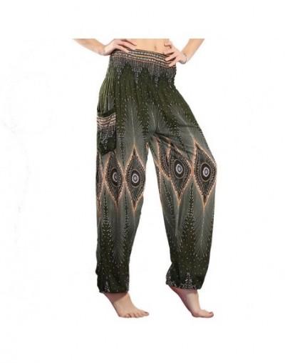 Summer Plus Size Beach Harem Pants Women Casual High Waist Floral Print Pants Vintage Loose Trousers Women - Print 1 Green -...