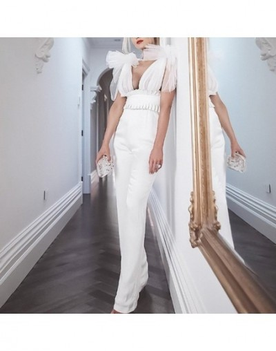 Mesh Patchwork Sexy Jumpsuit Women V Neck Off Shoulder Backless High Waist Tunic Tops Patns Female 2019 Fashion - white - 4X...