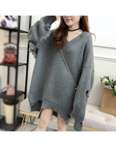 Knitted Sweater V Neck Patchwork Tassel Lantern Sleeve Loose Hollow Out Irregular Pullovers Tops Female Fashion Tide - Gray ...