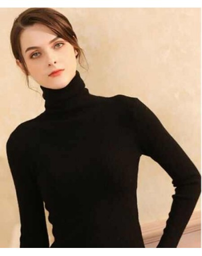 High Quality Autumn Winter Warm Women Sweater Thick Turtleneck Pullover Sweater Fashion Rib Knitted Female Jumper Top - blac...