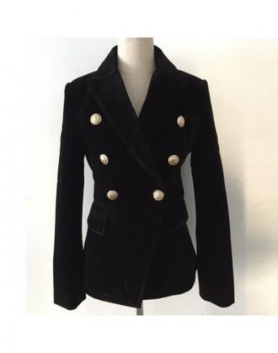 2019 Double-breasted Lion Buttons velvet Coat Women Long Sleeve Casual Work Blazers Suit Women's Jacket Blazer outerwear X69...