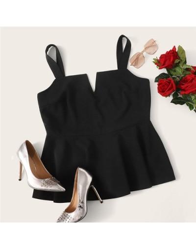 Plus Size Black V-Cut Neck Peplum Top Women 2019 Summer Elegant Ruffle Hem Vest Camisole Sexy Solid Camis Tops Vest - Black ...