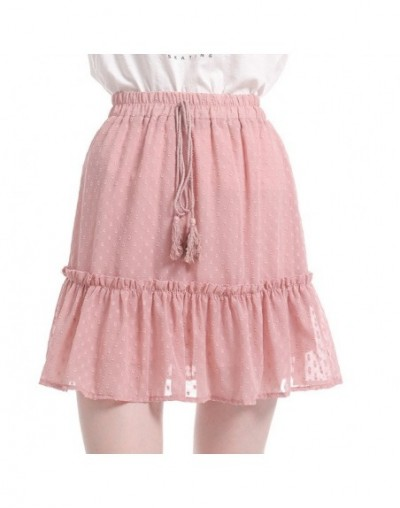 Boho Summer Pleated Mini Skirts Womens High Waist Polka Dot Short Skirt Pink A Line Floral Printed Ruffle Chiffon Skirts - p...