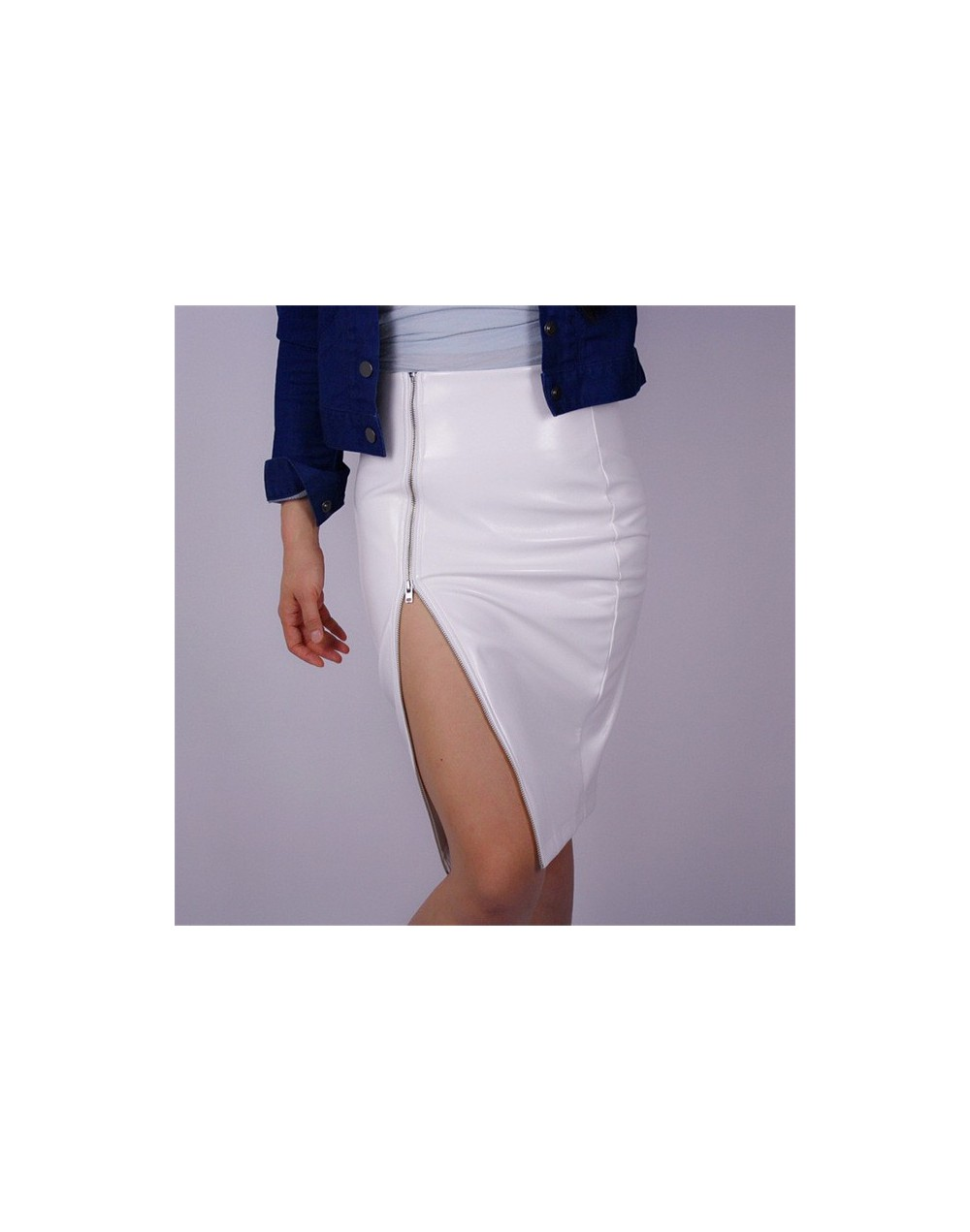 Red Patent Leather Long Zipper PU Imitation Leather Skirts Side Split Half-length Pencil Half Skirt High Waist Elastic VG03 ...
