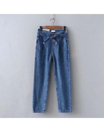 High Waist Jeans Woman Blue Denim Trousers Vintage 2019 Spring Lace Up Wide Leg Pants Bandage Belt Female Jeans C7424 - dark...