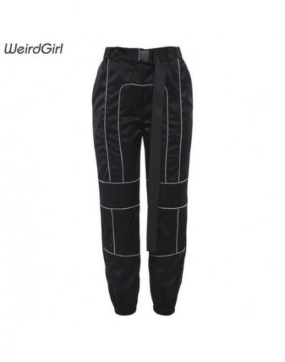 women casual pants fashion streetwear striped harem pants high waist drawstring lady long trousers Korean Style - Black - 4F...