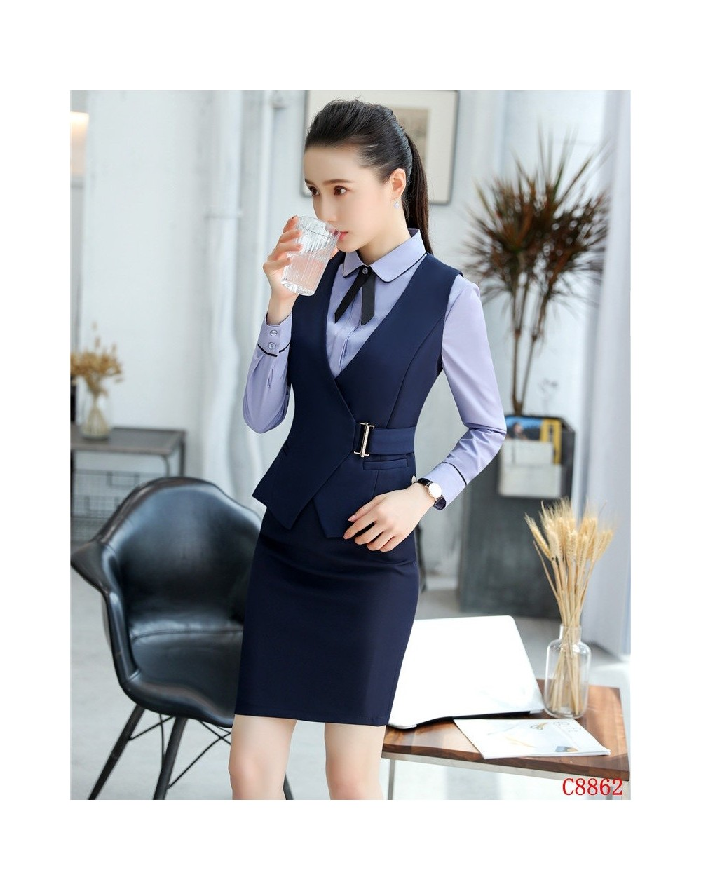 Formal Ladies Navy blueVest & Waistcoat Women Business Suits 2 Piece Skirt and Top Sets Office Uniform Styles - 4S3029805023