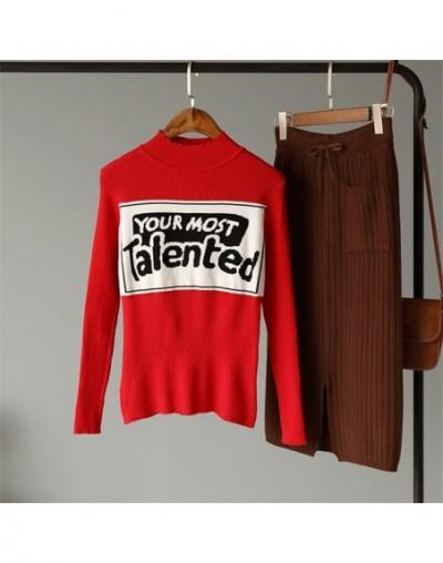 2019 Harajuku Knitted Top Women Winter Basic Sweater Print Letter Pullover Ladies Slim Elastic Turtleneck Sweaters 20647 - R...