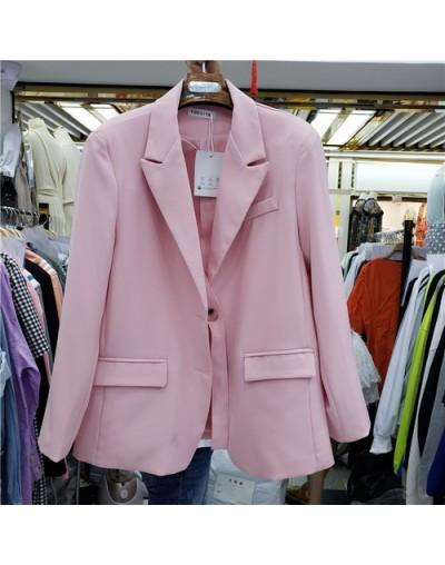 Autumn Blazer Women Korea New Fashion Solid Color Small Suit Coat Female Loose Casual Joker OL Commuter Coat Lady - Pink - 5...