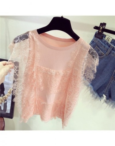Sexy Tank Top Women Knitted Patchwork Lace Blouse Sleeveless Ruffles Top Female t-shirt Vest Camis streetwear - pink - 4N390...