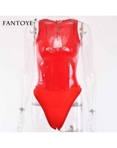 Sexy Deep V Neck PU Leather Bodysuit Women Sleeveless Patchwork Bodycon Rompers Jumpsuit Hot Night Club Party Bodysuit - Red...