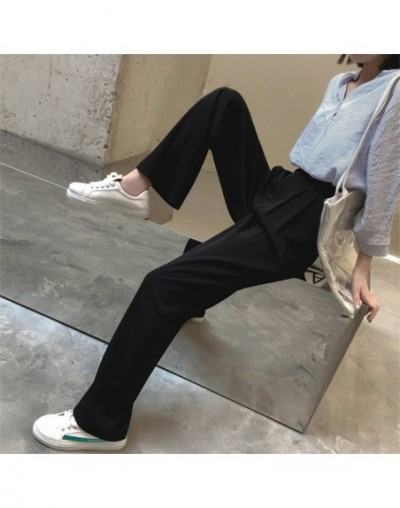Hot Solid Casual Loose Straight Women Empire Fresh 2019 Summer Free Texture Simple Trousers - black - 4M4114918157
