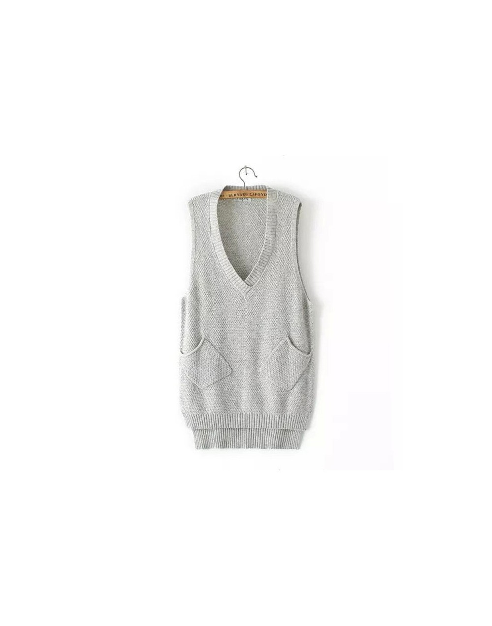 V Neck Long Vest Knitted Women Sweaters And Pullovers Woman Sleeveless Casual Pocket Sweater Pull Femme - Gray - 4W3954057087-2
