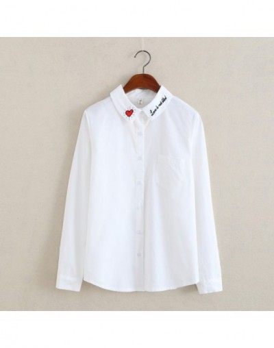 Fashion Korean Women Blusas Blouse Tops White Shirts Preppy 2017 Autumn Kawaii Embroidery Floral Female Shirts T78730A - Whi...