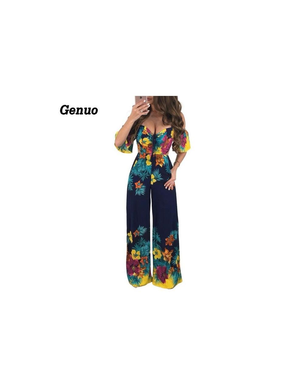 Womens Boho Beach Jumpsuit Party Clubwear Bandage Floral Playsuit Elegant Sleeveless Romper combinaison pantalon femme - Blu...
