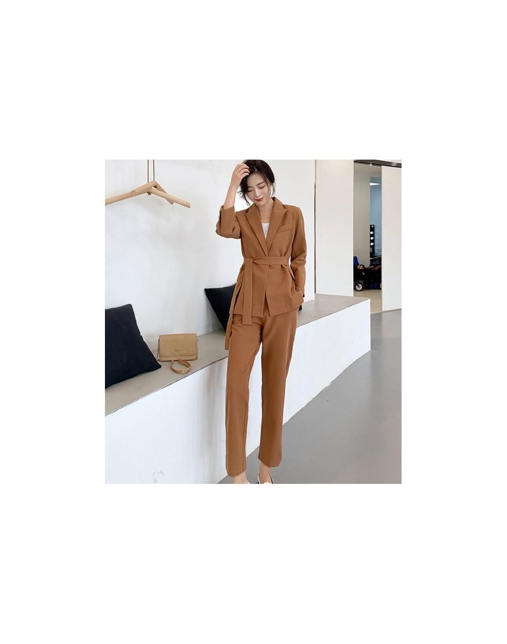 Woman Costume Pant Suit 2 Piece Office Trousers Set Suits the Feminine Khaki Blazer Jacket +Long Pant Suit Woman - Khaki - 5...