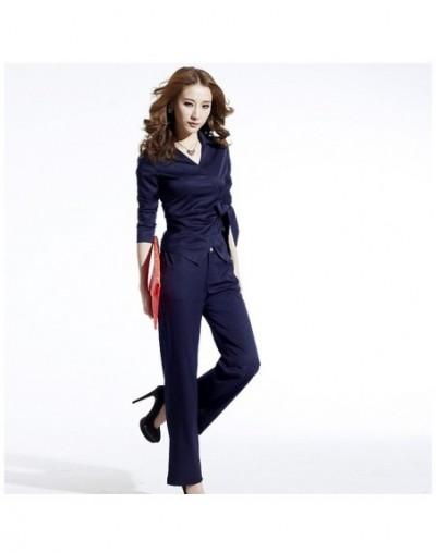 2019 autumn new women's long-sleeved professional wear fashion lapel tie work temperament trousers two-piece suit - Khaki - ...