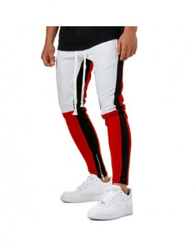 2018 New Mens Jogger Baggy Casual Harem Fake Zippers Pants Slacks Dance Trousers Sweatpants UK - White Red - 433050647055-3