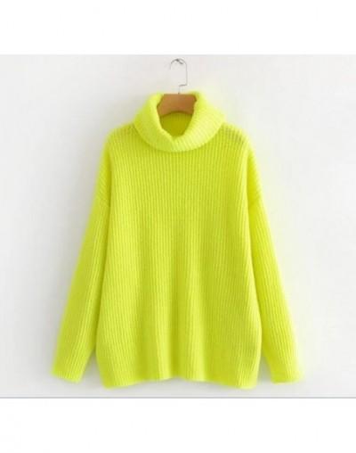 Stylish Striped Line Fluorescent Green Pullover Sweater 2018 Autumn Women Turtleneck Long sleeve Loose Long Knitwear Jumper ...