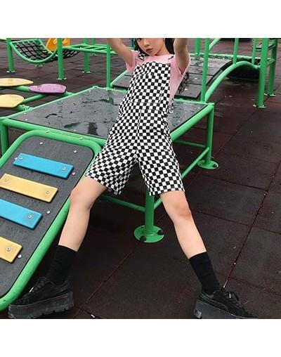Checker Suspender Trousers Women Short Pants Men Black White Plaid Unisex Playsuit Chic Streetwear Loose Causal Short - Chec...