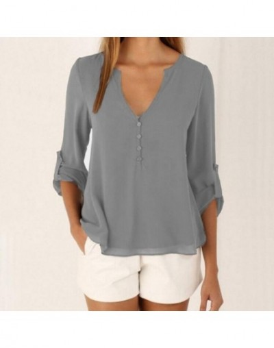 2019 new women blouses Casual fashion women long sleeve shirts plus size women S-5XL Solid Chiffon shirt 7 colors clothes - ...