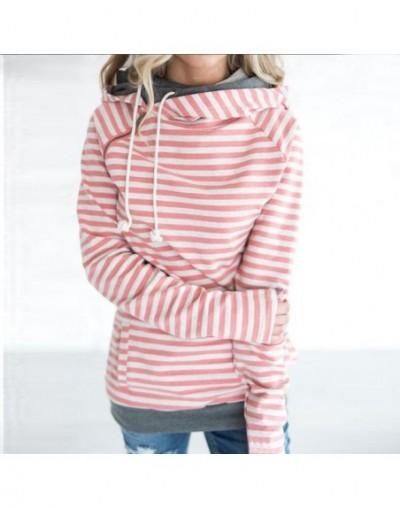 12 Color Big Size Women Hoodies Long Sleeve Striped Patchwork Pockets Zipper Sweatshirts Tops Autumn Winter Casual Slim Pull...