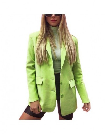 2019 Autumn New Women Office Lady Solid Long coat Sexy Simple Candy color Slim Long-sleeved suit - Green - 5P111257611436-2