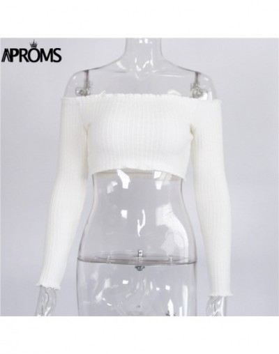 White Knitted Crop Top Sexy Off Shoulder Ruffles Tank Tops Women Short Tees Knit T-shirt Casual 90s Cool Streetwear Camis - ...