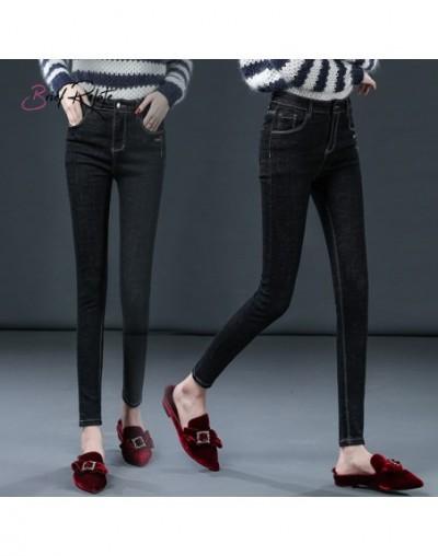 New Slim Pencil Pants Tight Stretch Ankle Pants Durable Elastic Denim Black Multi Pockets High Quality - Black - 403081336176