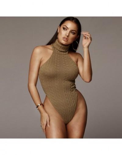 Turtleneck Sweater Bodysuit Women Sleeveless Slim Summer Casual Romper Elegant 2019 Fashion Black Backless Bodysuit - Brown ...