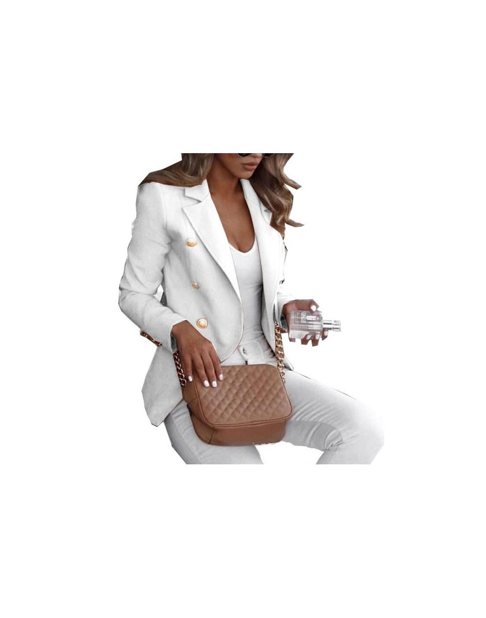 Ladies Elegant Slim Solid Color Suit Tops Female Long Sleeve Casual Short Coat for Spring Autumn H9 - White - 5U111257310256-5
