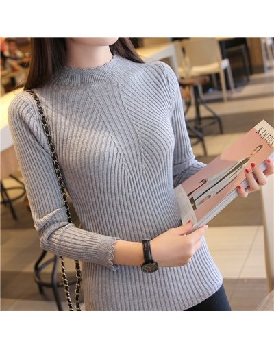Knitting Women Sweaters And Pullovers Solid Color Turtleneck Slim Casual Ladies Knitted Sweater Winter New Chic Lace Pullove...