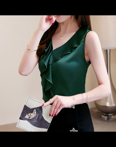 Summer Tops New Korean fashion clothing Silk V-neck Chiffon blouse Plus size Sleeveless shirt 3XL - green - 4D3000450034-2